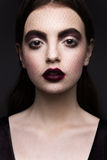 Beauty Fashion Model Girl with Dark Make up Stock Images