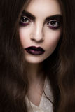 Beauty Fashion Model Girl with Dark Make up Stock Photos