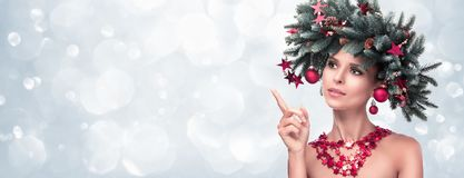 Beauty Fashion Model Girl with Fir Branches Decoration stock photos