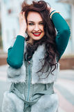 Beauty Fashion Model Girl in Fox Fur Coat. Beautiful Woman in Luxury Gray Fur Jacket Stock Photography