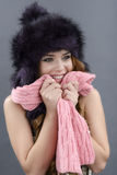 Beauty Fashion Model Girl in a Fur Hat. Beautiful Stylish Woman Stock Photos