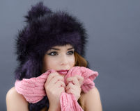 Beauty Fashion Model Girl in a Fur Hat. Beautiful Stylish Woman Royalty Free Stock Photo