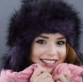 Beauty Fashion Model Girl in a Fur Hat. Beautiful Stylish Woman Royalty Free Stock Photo