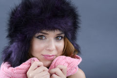 Beauty Fashion Model Girl in a Fur Hat. Beautiful Stylish Woman Royalty Free Stock Photography