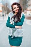 Beauty Fashion Model Girl in Mink Fur Coat. Beautiful Woman in Luxury Gray Fur Jacket . Winter Fashion. Royalty Free Stock Image