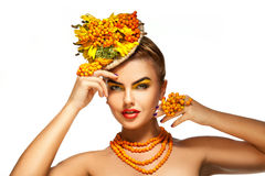 Beauty fashion model Girl with orange rowan Hair Style. Royalty Free Stock Image