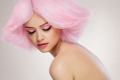 Beauty Fashion Model Girl with Pink Hair. Colourful Hair. Colour Royalty Free Stock Image