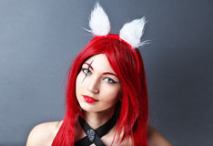 Beauty Fashion Model Girl with red wig Stock Photography