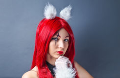 Beauty Fashion Model Girl with red wig Royalty Free Stock Image