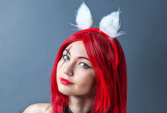 Beauty Fashion Model Girl with red wig Royalty Free Stock Images