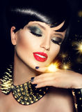 Beauty fashion model girl with short hair Royalty Free Stock Images