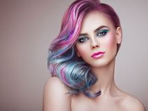 Free Beauty Fashion Model Girl With Colorful Dyed Hair Stock Photo - 115142130