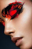 Beauty Fashion Model Girl With Dark Bright Orange Make-up Royalty Free Stock Images