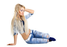 Beauty fashion model in jeans jacket Stock Photo