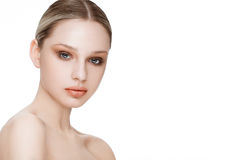 Beauty fashion model with natural makeup skin care Royalty Free Stock Image