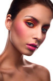 Beauty fashion model with pink blush and lips Stock Photo