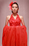 Beauty Fashion Model in Red Stock Image