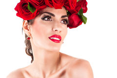 Beauty fashion model with red roses Stock Photos