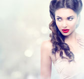 Beauty fashion model retro girl. Over blinking background Royalty Free Stock Photos