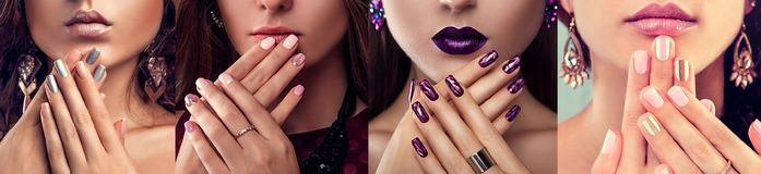 Free Beauty Fashion Model With Different Make-up And Nail Art Design Wearing Jewelry. Set Of Manicure. Four Stylish Looks Stock Photography - 117154832
