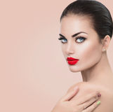 Beauty fashion model woman. Girl with red sexy lips and blue eyes Royalty Free Stock Images
