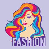 Beauty fashion model women with long colorful hair. Face girl with long hair, beautiful hairstyle with curls. Fashion logo Royalty Free Stock Photography