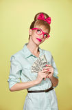 Beauty fashion. Money, business woman with dollar Royalty Free Stock Image