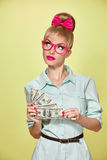 Beauty fashion. Money, business woman with dollar Stock Photos