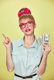 Beauty fashion. Money, business woman with dollar Stock Photo