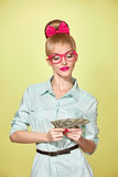 Beauty fashion. Money, business woman with dollar Royalty Free Stock Images