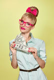 Beauty fashion. Money, business woman with dollar Royalty Free Stock Photo
