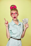 Beauty fashion. Money, business woman with dollar Stock Images