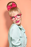 Beauty fashion nerdy woman thinking, glasses.Pinup Stock Images
