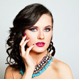Beauty Fashion Portrait. Beautiful Woman. Makeup and Hairstyle Stock Photography