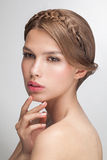 Beauty fashion portrait closeup of young attractive sensual model woman. Royalty Free Stock Photography