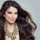 Beauty Fashion Portrait of Perfect Model Woman. With Beautiful Hair and Golden Jewelry Stock Images