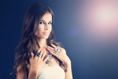 Beauty Fashion Portrait of Pretty Woman. Make-up. Jewelry Ring and Necklace Stock Image
