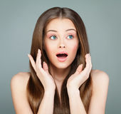 Beauty Fashion Portrait of Surprised Woman Royalty Free Stock Image