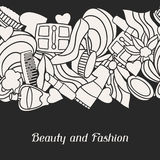 Beauty and fashion seamless pattern with cosmetic Royalty Free Stock Image