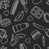 Beauty and fashion seamless pattern with cosmetic Royalty Free Stock Images