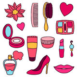 Beauty and fashion set of cosmetic accessories Stock Photo