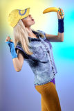 Fashion beauty sexy hipster woman, unusual creative disco people Royalty Free Stock Images