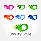 Beauty Fashion Spa Logo design templates set. Pink, green leaves and flowers, fire, blue water, night concept versions. Haircut salon make up logotype concept Royalty Free Stock Photo