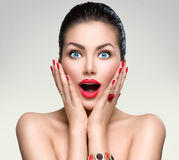 Beauty fashion surprised woman. Portrait Stock Photo