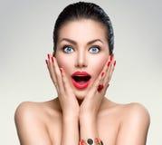 Beauty fashion surprised woman Stock Photo