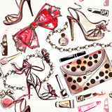 Beauty and fashion vector watercolor cosmetics make up artists o Stock Photo