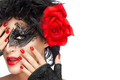 Beauty Fashion Woman with Elegant Mask. Red Lips and Manicure Royalty Free Stock Photo