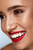 Beauty Fashion Woman Face With Perfect White Smile, Red Lips. Beauty Fashion Woman Face With Perfect Smile. Closeup Of Beautiful Sexy Girl Face With Bright Royalty Free Stock Image