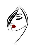 Beauty fashion woman portrait with red lips. On white background Stock Photos