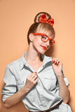 Beauty fashion woman, stylish glasses.Hipster girl Stock Photography